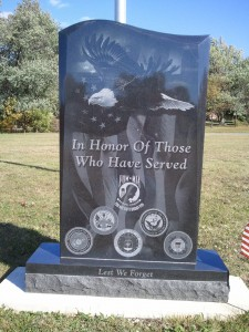 Veterans' Memorial Stone in new Veterans' Section
